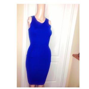 Electric blue intermix bandage dress